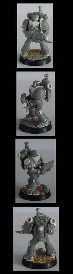 #40k Iron Hands Space Marine #Conversion {lines, and well placed drill holes, adds a great look to simple armor}