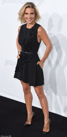 Revving up her style! Elsa Pataky paraded her toned legs in a sequinned little black dress as she attended the Furious 7 premiere in Los Angeles