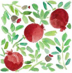3 pomegranates art print of original watercolor painting.home decor , wall art ,Mediterranean, green, garnet red Watercolor Print, Watercolor Paintings, Pomegranate Art, Rosh Hashanah, Fruit Art, Leaf Art, Kitchen Art, Fine Art Prints, Origami