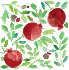 3 pomegranates  art print of original watercolor painting.home decor , wall art ,Mediterranean, green, garnet red