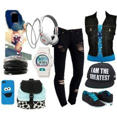 all but the cookie monster stuff just exchange with blue. and also im not a fan of those head phones but its still coool