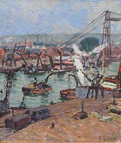 Port De  Rouen Par Paul Mascart , Galerie Karin Carton, Proantic
