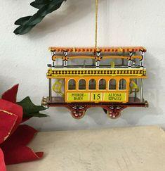Vintage Germany Tin Metal Trolley Double Decker Bus Christmas Ornament #Christmas