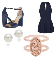 """""""Navy Blue Chic"""" by livadams206 on Polyvore featuring Topshop, Betsey Johnson, AK Anne Klein and Kendra Scott"""