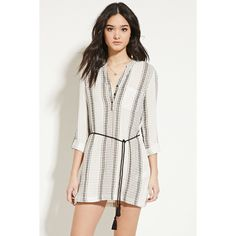 Forever 21 Women's  Textured Shirt Dress ($23) ❤ liked on Polyvore featuring dresses, forever 21, collar dress, white dress, striped dress and cotton shirt dress