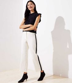 a503792059c4a LOFT Straight Leg Pants in Side Stripe - A tailored, straight leg. Front zip