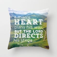 Proverbs 16:9 Plans Throw Pillow by Pocket Fuel - $20.00