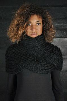 Knitted turtleneck shrug.