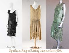 Significant-Flapper-Evening-dresses-of-the-1920s Chanel's black evening dresses with huge transparent draperies. Molyneux's transparent printed dresses with full scalloped skirts and arm draperies. Paquin's acid green moire dresses. source -Vintage Fashion Sourcebook – Carlton Books