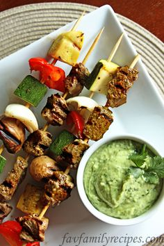 Steak Skewers with Avocado Sauce from favfamilyrecipes.com #recipes #steak #grilling