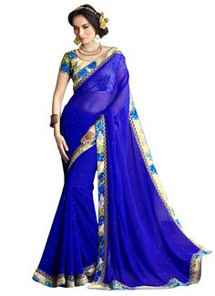 Dark Blue Viscose Georgette Border Saree