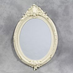 Large Antique Cream Oval Framed 'Charles' Mirror