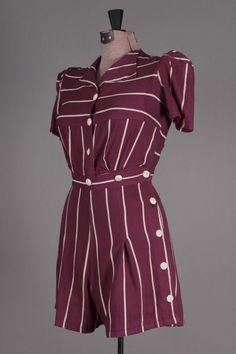 40s VTG Purple & White Striped Romper. Cute vintage jumpsuit! Size S - $69 via eBay