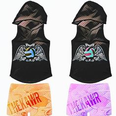 Illustrator by Thekawr sleeveless hoodie with Thekawr spandex  shorts. Volleyball wings logo on tops.