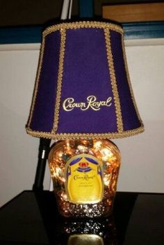 Upcycled Crown Royal Lamp by UpcycledByJJ on Etsy Liquor Bottle Crafts, Diy Bottle, Liquor Bottles, Bottle Art, Alcohol Bottles, Glass Bottles, Crown Royal Bottle, Crown Royal Bags, Crown Crafts