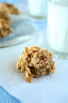 No bake cookies:  This isn't allergy friendly for us since it contains peanut butter AND almonds.  However, this is a spring board recipe.  Sunbutter for PB and extra oats instead of almonds?