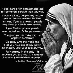 Mother Teresa (1910 - 1997) Indian Nun, received the Nobel Peace Prize for her work in Calcutta, India with the Missionaries of Charity