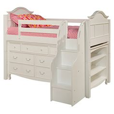 Bolton Furniture 9881500LS8320SB Emma Low Loft Storage Bed with Stairs, 7 Drawer Dresser and Three Shelf Bookcase, White