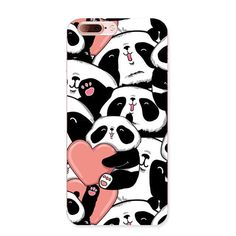 Cartoon Animal Panda back cover For Apple Iphone 7 Lovely pandas family bamboo painted for iphone 7 Plus