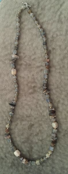 $95 Genuine Labradorite, Moonstone, Fossil Coral Necklace with Gold Seed Beaded Jewelry