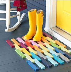 I could do this....DIY door mat