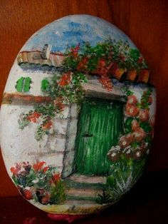 Painted Rock Old Barn.I would do it on something besides a rock. Pebble Painting, Pebble Art, Stone Painting, Diy Painting, Rock Painting, Stone Crafts, Rock Crafts, Pierre Decorative, Art Rupestre