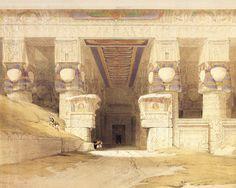 "laclefdescoeurs: ""The Facade Of The Temple Of Hathor At Dendera, David Roberts """