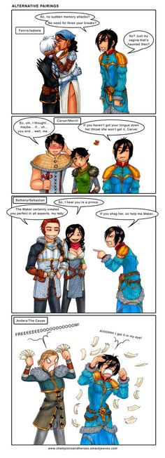 Funny Alternative Pairings in Dragon Age 2 - I'm sorry but I kinda like Isabela and Fenris together, I might be biased because Anders is my favorite romance so I don't care if Isabela flirts with Fenris but still..