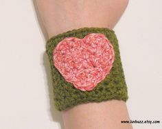 Olive Green Cotton Crochet Cuff Bracelet with Pink by luvbuzz,