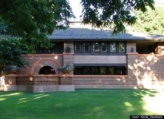 Arthur B. Heurtley House / 318 Forest Ave., Oak Park, IL/ 1902 / Prairie / Frank Lloyd Wright - While the Heurtleys owned the home it underwent three major changes. They added screens to the windows on the elevated porch as well as a breakfast room on the main floor.