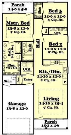 1250 Sq. Ft. House Plan [Sumrall (12-003-315)] from Planhouse - Home Plans, House Plans, Floor Plans, Design Plans
