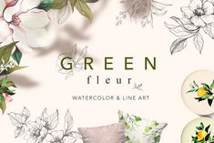 Green Fleur by Natalya Krupnova on @creativemarket