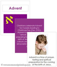 Advent Teaching Cards and Booklet - Printable Holiday & Celebration Cards for Montessori Learning at home and school.