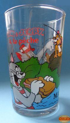 Verre Moutarde ... TOM & JERRY à la pêche (1990).  Tom le chat & Jerry la souris, sont les personnages de dessins animés créés en 1940, par les dessinateurs et réalisateurs William Hanne et Joseph Barbera.