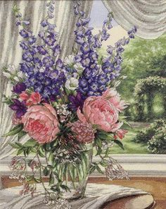 """""""Peonies and Delphinium""""  ~  Pattern (images 27 through 38):  http://gallery.ru/watch?ph=4y2-fA7bF"""