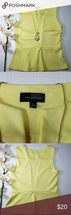 The Limited peplum top Canary yellow sleeveless top with small v-neck opening in the front, flared peplum at the bottom. Poly5/rayon/spandex. Excellent condition.  Sz small The Limited Tops