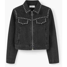 MANGO Studded Denim Jacket ($100) ❤ liked on Polyvore featuring outerwear, jackets, mango jacket, embellished jacket, zippered denim jacket, zipper jacket and long sleeve jacket