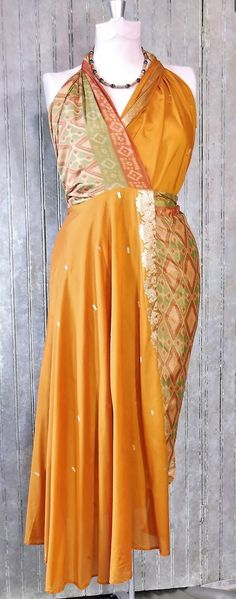 """34"""" silk Wrap Skirt made from vintage Indian sari's with matching handmade necklace set"""