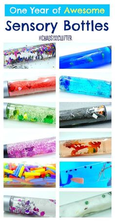 One Year of Awesome Sensory Bottles One Year of Awesome Sensory Bottles,Sensory Activities for Babies, Toddlers, & Preschoolers These sensory bottle ideas will take you through a year of themes and ideas, making it. Sensory Bags, Sensory Table, Baby Sensory Bottles, Sensory Bottles For Toddlers, Sensory Bottles Preschool, Infant Activities, Preschool Activities, Motor Activities, Activities For The Elderly