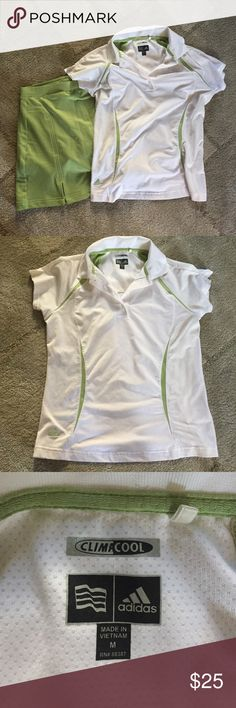 Adidas Climacool Tennis Skort and Top Set Great for tennis or golf. Green and white matching skort and shirt combo. Skirt is a size 4 and has a small pocket on the back. Shirt is a seize medium. Bundle or unbundle :) Adidas Tops Tees - Short Sleeve