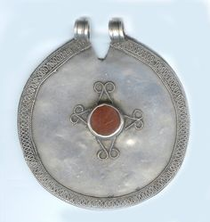 Seranja  Silver headdress pendant from the Ersari group, having carnelian and wire work. late 19th or early 20th c. Posted by Linda Pastorino