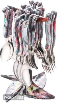 Cutlery Set Marble with Stand Made from Stainless Steel & Virgin Plastic Pack of 24 Pieces