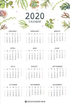 Small Printable 2020 Yearly Calendar ⋆ The Best Printable Calendar Collection To Do Planner, Budget Planner, Weekly Planner, 2015 Planner, Blog Planner, Print Calendar, Yearly Calendar, Calendar 2020, Team Calendar