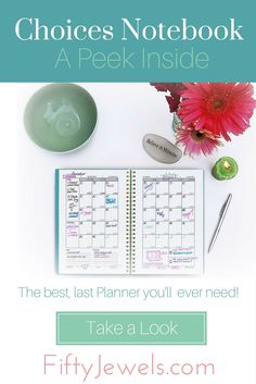 The Choices Notebook - A Peek Inside - Fifty Jewels - Planner Writing, Study Planner, Planner Journal, Household Notebook, Diy Notebook, Organization Skills, Planner Organization, Happy Planner, 2016 Planner