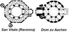 San Vitale - Ravenna, 526-547 and Palatine Chapel - Aachen, 795-798; floor plan comparison.