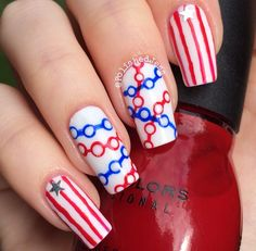 Independence Day nail art by Jess