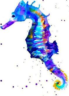 watercolor seahorse - Google Search