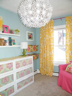 Love all the colors with the blue walls... maybe megs room?