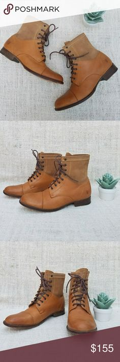 Frye Erin Combat Lace Up Ankle Workboot These boots are gorgeous. Contrast design of rich camel colored leather and nubuck suede. Features a wooden heel with leather sole, braided laces, cap toe stitching, and tooled FRYE logo on the tongues and ankles. From a 2009 collection but gently worn with a lot of character. Frye boots age amazingly well and any marks add to their personality! Made in Mexico. Women's size 9. Frye Shoes Combat & Moto Boots