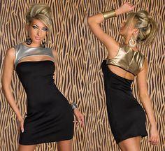ROBE DE SOIRÉE FÊTES COURTE TOP SEXY FEMME STRETCH NOIR ET OR OU ARGENT  38 40  robe  sexy  femmes  mode 2e69cbddc05